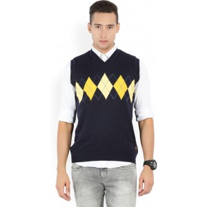 Raymond Solid V-neck Formal Men Dark Blue Sweater