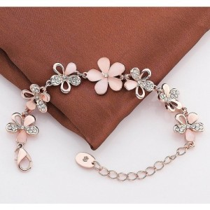 YouBella Peach Floral Stone-Studded Alloy Bracelet