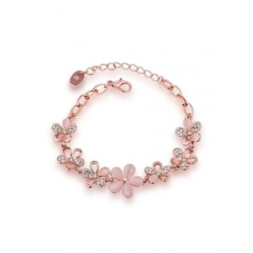 YouBella Peach Floral Stone-Studded Alloy Bracelet