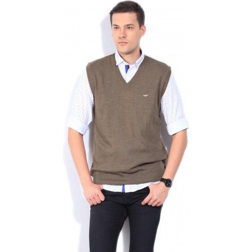 Buy Park Avenue Solid V Neck Formal Men Brown Sweater Online