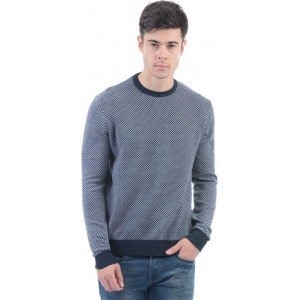Pepe Jeans Solid Round Neck Casual Men Blue Sweater