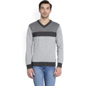 Raymond Self Design V-neck Casual Men Grey Sweater