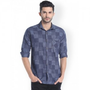 Campus Sutra  Blue Standard Regular Fit Self Design Casual Shirt