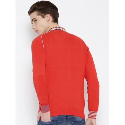 United Colors of Benetton Men Coral Orange Sweater