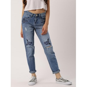 DressBerry Blue Regular Fit Mid-Rise Mildly Distressed Stretchable Jeans