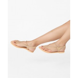 AJIO Thong-Style Flats with Ankle Strap