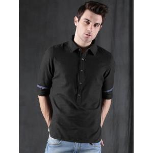 cccda2bce06 Buy Wills Lifestyle Men Black Slim Fit Solid Smart Casual Shirt ...