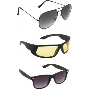 Irayz Multi Color Aviator, Wrap-around Sunglasses-Pack Of 3
