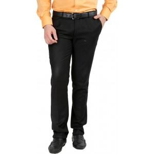 Inspire Black Solid Slim Fit Men's Formal Trousers