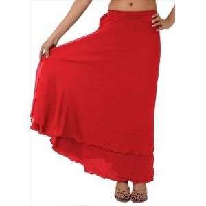 SNS Long Red Moss Crepe Wraparound Skirt