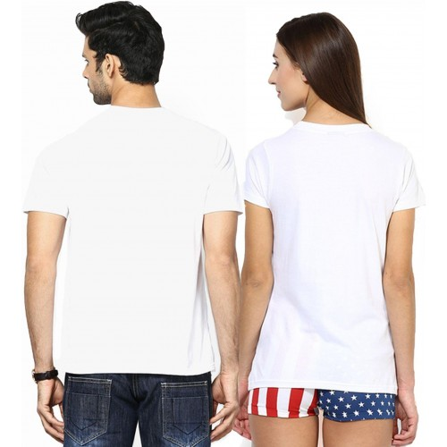 Young Trendz White Cotton Casual Couple T-Shirts