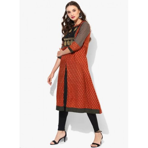 Sangria Band Collar 3/4Th Sleeves Embellished Anarkali With Embroidery At Half Center Front