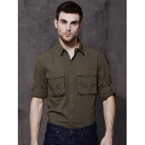Roadster Men Olive Green Regular Fit Solid Casual Shirt