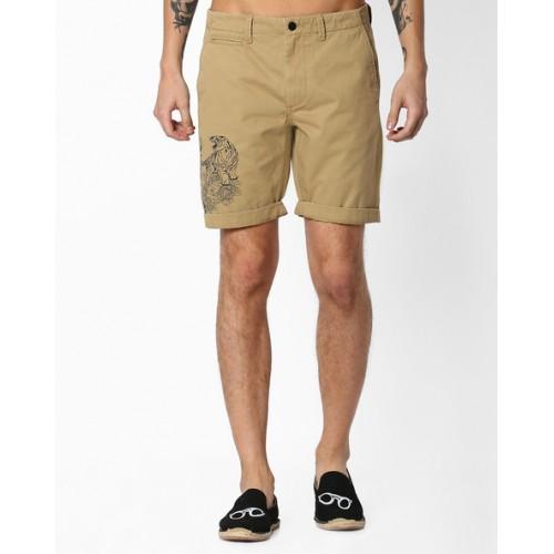 e3ff3480e9cbcd Buy Jack   Jones Brown Cotton Mid-Rise Printed Chino Shorts online ...