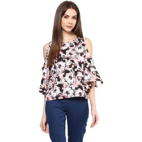 1531c2aaf7ed1 Harpa White Floral Print Cold Shoulder Women s Top  Harpa White Floral  Print Cold Shoulder Women s ...