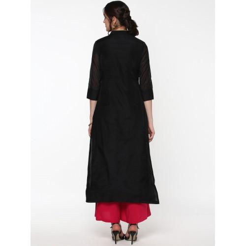 Sassafras Black Embroidered Kurta with High Front Slit