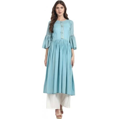 0b370a3ed726 Buy Nayo Women Solid Anarkali Kurta(Blue) online