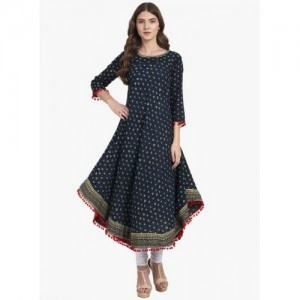 Nayo Navy Blue Cotton Printed Anarkali Kurti