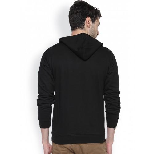 Campus Sutra Black Cotton Sweatshirt