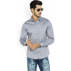 United Colors of Benetton. Men's Solid Casual Grey Shirt
