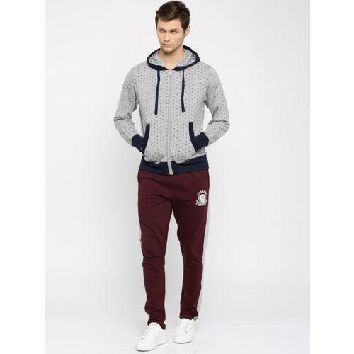 Harvard Grey Melange & Navy Printed Hooded Sweatshirt
