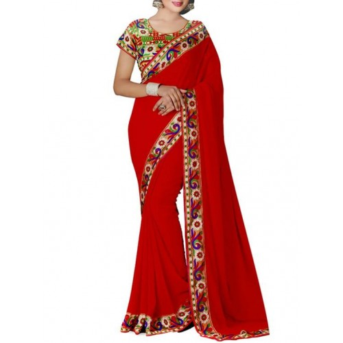 Aaradhya Fashion Red Faux Georgette Bordered Saree