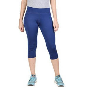 Onesport Blue Polyester Spandex Solid Tights