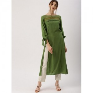 All About You Women's Green Solid Straight Kurta