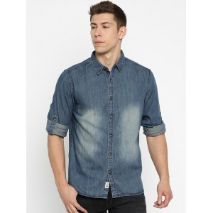 Roadster Men Blue Regular Fit Faded Casual Shirt