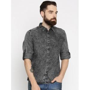 Roadster Men Charcoal Grey Regular Fit Faded Casual Shirt