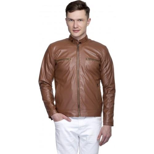 Lambency Brown Full Sleeve Solid Riding Jacket Jacket
