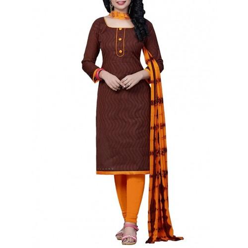 Shoponbit Brown Cotton Printed Unstitched Suit