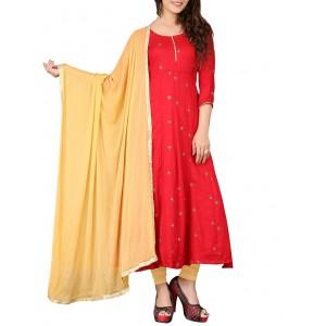 BanoRani Red Cotton Anarkali Dress Material
