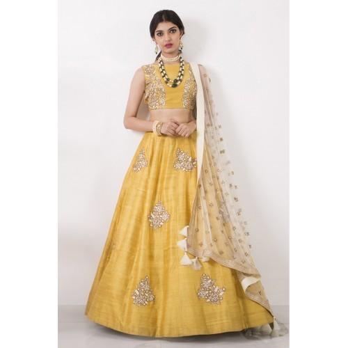 2149c71ee5 Kings Fashion Bazaar Women's Silk Semi-Stitched Lehenga Choli  (FFashion10665_Yellow_Free Size)