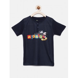 YK Disney Boys Navy Blue Printed Henley Neck T-shirt