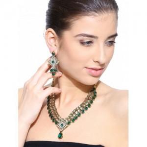 Zaveri Pearls Gold-Toned & Green Stone-Studded Jewellery Set