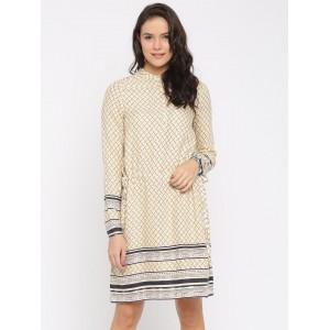 Vero Moda Women Cream Printed A-Line Dress