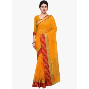 Saree Mall Orange Striped Saree
