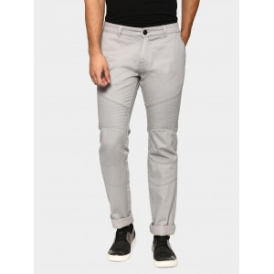 abof Men Light Grey Slim Fit Stretchable Casual Trousers