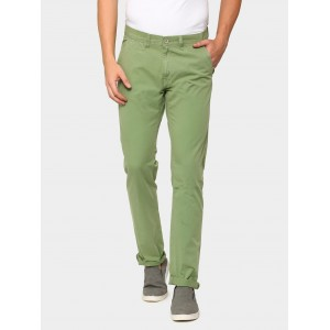 abof Men Light Green Slim Fit Overdyed Casual Trousers