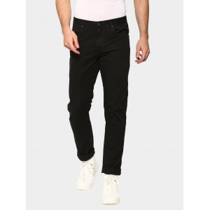 abof Men Black Slim Fit Overdyed Casual Trousers