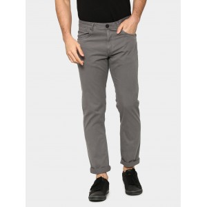 abof Men Grey Slim Fit Overdyed Casual Trousers