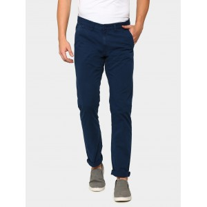 abof Men Navy Blue Slim Fit Overdyed Casual Trousers