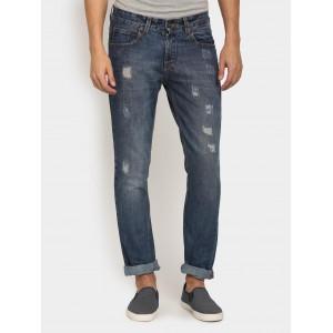 abof Men Dark Blue Slim Fit Distressed Jeans