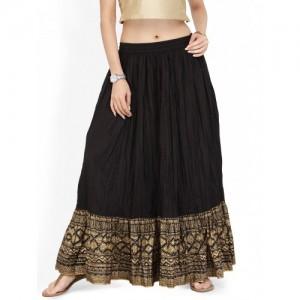 Varanga Black Flared Maxi Skirt with Crinkled Effect