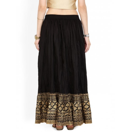 Varanga Black Flared Maxi Skirt with Crinkled Effect