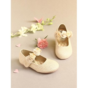 Walktrendy by Walkinlifestyle Gold-Toned Solid Mary Janes with Floral Detail