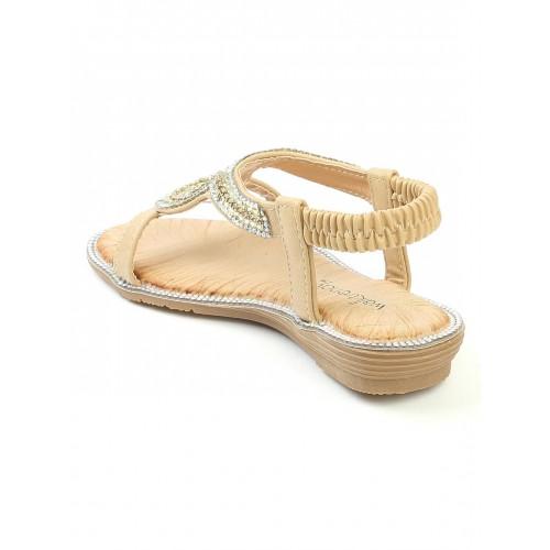 Walktrendy by Walkinlifestyle Beige Solid Synthetic Open Toe Flats