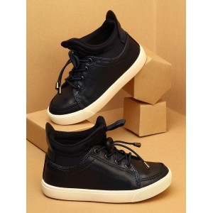Walktrendy by Walkinlifestyle Navy Blue Solid Synthetic Mid-Top Sneakers
