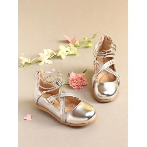 Walktrendy by Walkinlifestyle Silver-Toned Solid Synthetic Ballerinas